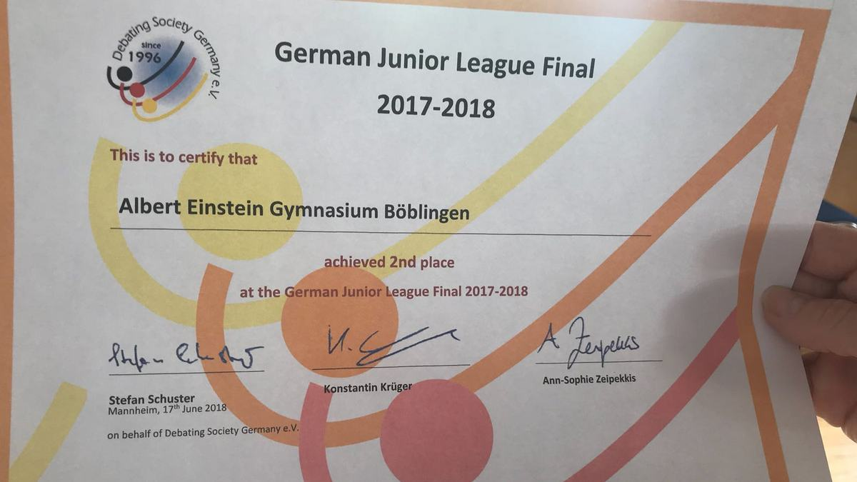 German juniors 2nd place 2018